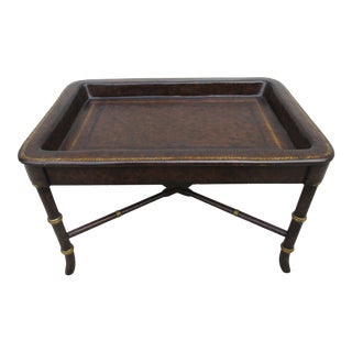 Regency Paper Mache Tray Table With Dark Tortoise Finish For Sale