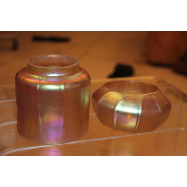 Contemporary Steuben Gold Aurene Style 2 Piece Candle Holder - Image 7 of 9