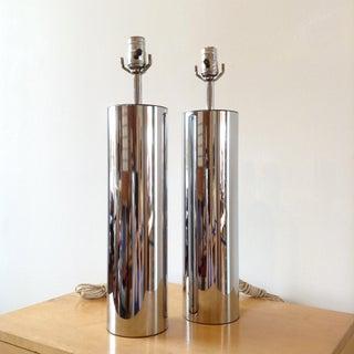 1970s Vintage Robert Sonneman Chrome Cylinder Table Lamps- a Pair Preview