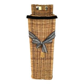"""Vintage Tall 34"""" Embellished Wicker Basket by Designer Mary Kaiser,Ltd. For Sale"""