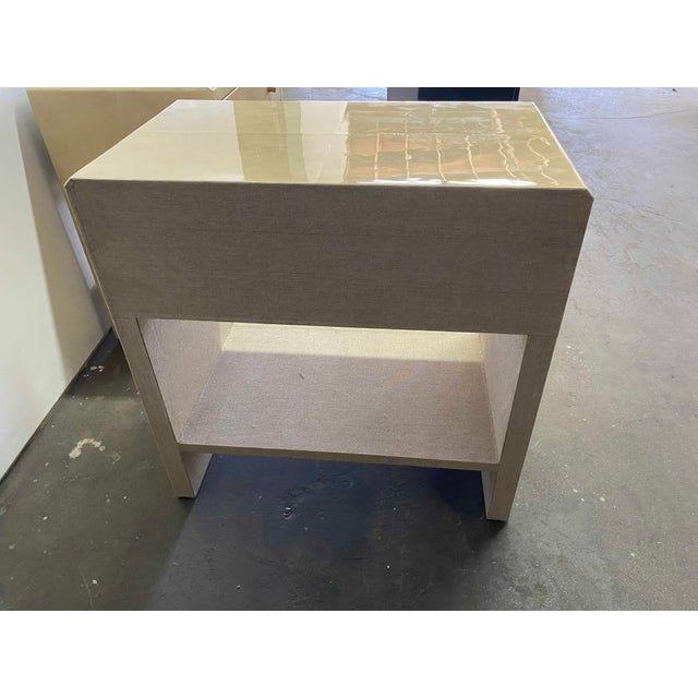 Polished Faux Vellum Bedside Tables For Sale In Los Angeles - Image 6 of 7
