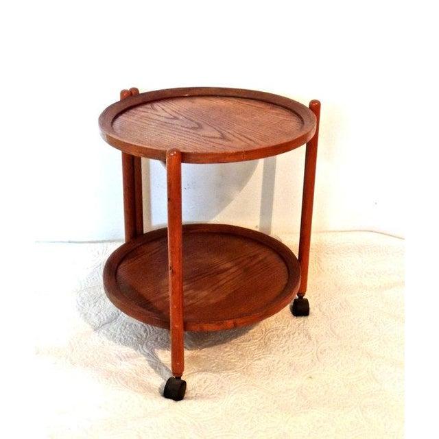 Vintage Tray Top Folding Teak Tea Cart - Image 3 of 5