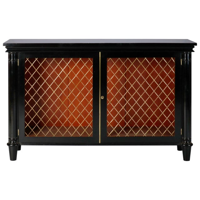 Ebonised English Sideboard With Brass Grills For Sale - Image 10 of 10