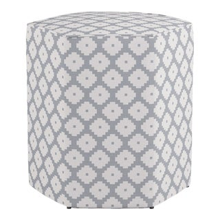 Hexagonal Ottoman in Grey Ziggurat For Sale