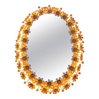 Illuminated Mirror with Crystal Flowers by Palwa For Sale