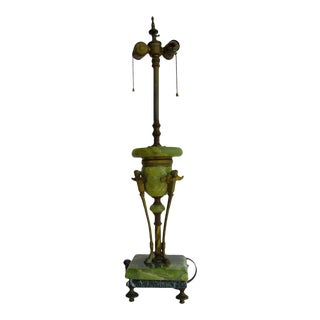Antique Italian Renaissance Style Solid Onyx and Brass Table Lamp With Winged Angels For Sale