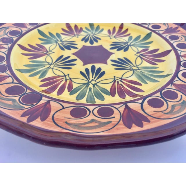 French Polychrome Hand Painted Ceramic Decorative Plate For Sale - Image 9 of 12