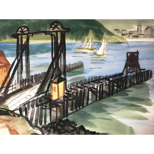 Vintage watercolor of the old Tiburon-San Francisco ferry dock with Angel Island partially obscuring the view of San...