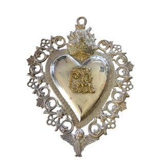 "19th C European Sacred Heart Silver Ex Voto Relic .W/ Angel 8"" For Sale"