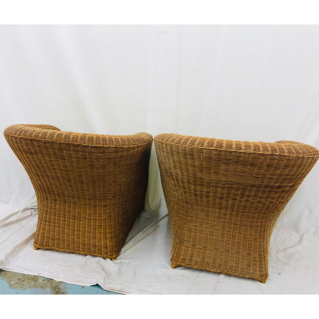 Brown Pair Vintage Woven Wicker Club Chairs For Sale - Image 8 of 10