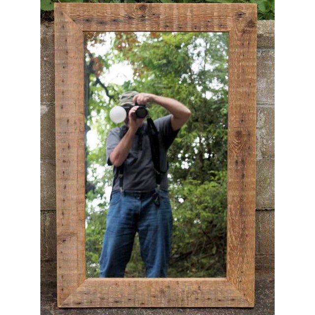 Hand made by John Scarola, reclaimed and resawn barn beam mirror. 41.5 x 27.25 x 1.5