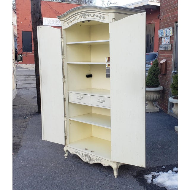 Painted White Century Furniture French Provincial Double Door Bedroom Tv Armoire Cabinet C1990s For Sale - Image 11 of 12