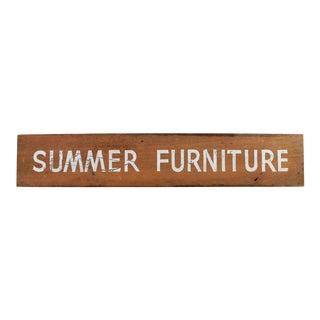"""Vintage """"Summer Furniture"""" Wood Sign For Sale"""