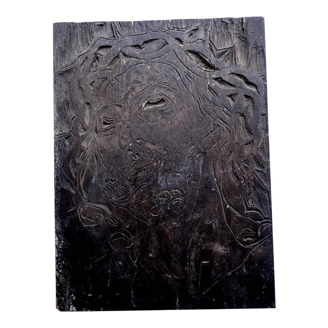 Jesus Devotional Woodcut Carving by Sante Graziani For Sale