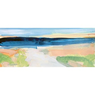 """""""Seascape Iv"""" Contemporary Abstract Coastal Landscape Watercolor Painting 11.5 X 4.5"""" For Sale"""
