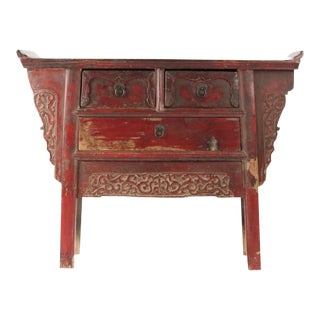 19th Century Red Lacquer Console Table For Sale