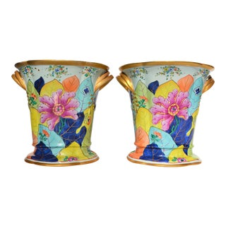 Mottahedeh Tobacco Leaf Cachepot Vases - Set of 2 For Sale