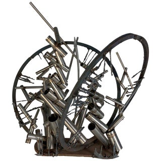 """Late 20th Century D. Phillips """"Gates"""" Welded Steel Sculpture For Sale"""