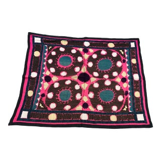 "Handmade Square Suzani Tablecloth / Wall Hanging - 3'4"" x 2'7"" For Sale"