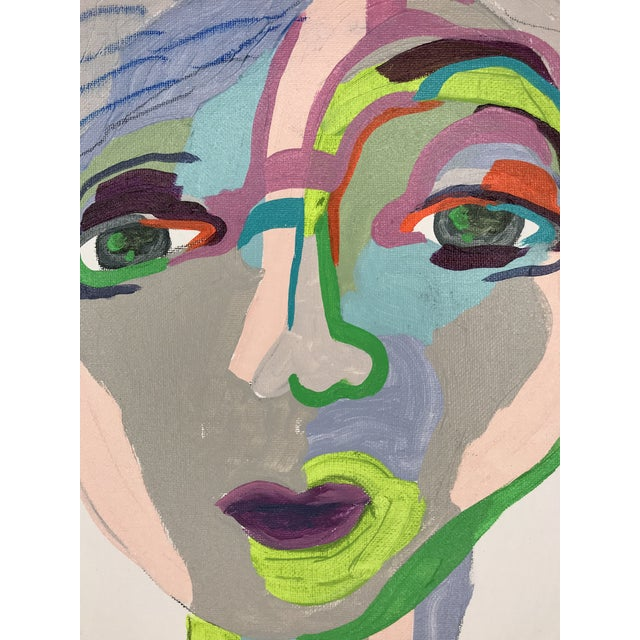 """Contemporary Abstract Portrait Painting """"From Another Perspective, No. 4"""" - Framed For Sale - Image 4 of 10"""