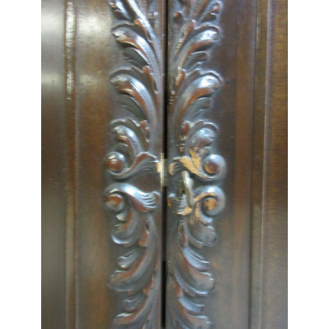 1930s Antique Mahogany Ball Claw Chippendale Cupboard For Sale - Image 5 of 11