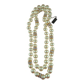 1980s Vintage Swarovski Crystal and Glass Pearl Necklace For Sale