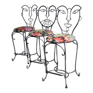 Faces Barstools in the Manner of John Risley - Set of 3 For Sale