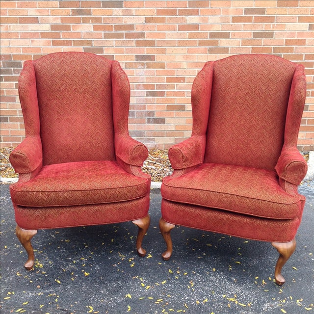 """Offered is a pair of Walter E. Smithe wingback chairs featuring custom chenille red and gold """"Chevron"""" upholstery fabric...."""