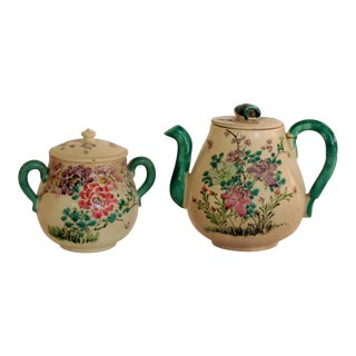 Antique Hand-Painted Japanese Teapot and Sugar Bowl For Sale