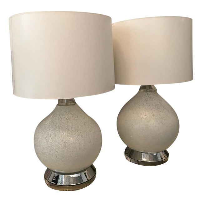 Pair of White Murano Glass and Chrome Table Lamps with Lucite bases by Vistosi of Italy - Image 1 of 8