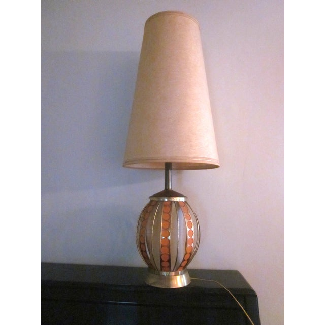 Mid Century Modern Orange Dot Brass Lamp - Image 2 of 9