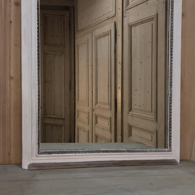 19th Century Louis XVI Neoclassical Painted Trumeau Mirror For Sale - Image 9 of 11