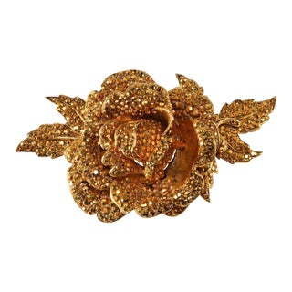 Huge Jose and Maria Barrera Aurum Rhinestone Brooch Pin Vintage For Sale