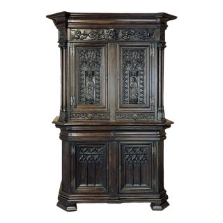 19th Century French Gothic Buffet a Deux Corps ~ Cabinet For Sale