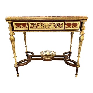 Adam Weisweiler Style Center Table or Desk Depicting Four Full Bodied Woman