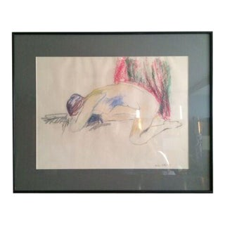 1960s Figurative Nude Pastel Drawing, Framed For Sale
