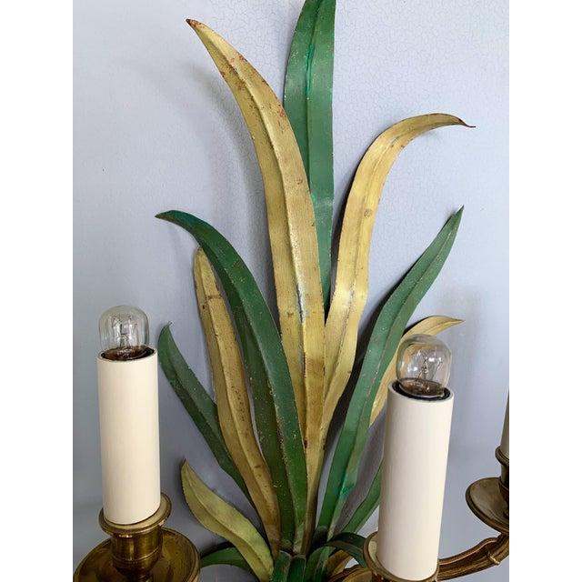 Metal Pair of Sconces Bamboo Palm Bronze by Maison Bagues, France, 1970s For Sale - Image 7 of 13