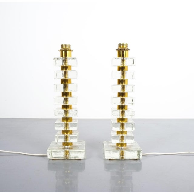 Pair of Large Bakalowits Square Block Glass Table Lights, Austria, 1970 For Sale - Image 9 of 9