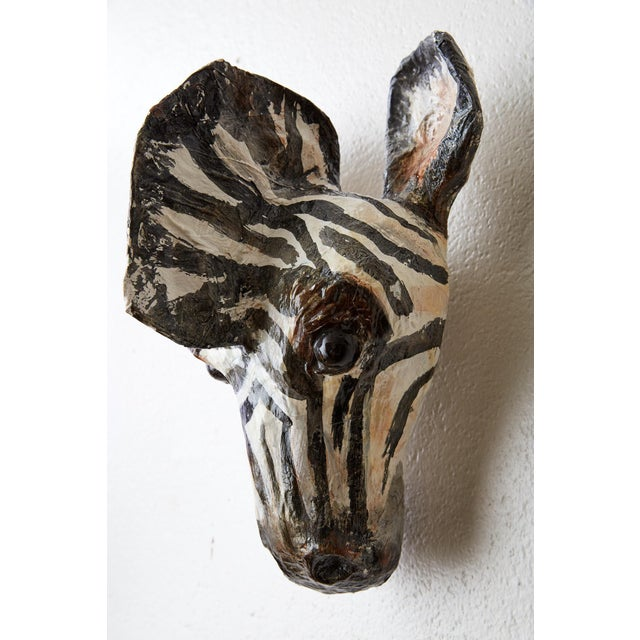 Hand Painted Paper Mache Zebra Head For Sale - Image 9 of 13