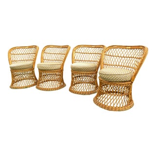 Vintage Mid-Century Rattan Wicker Chairs - Set of 4