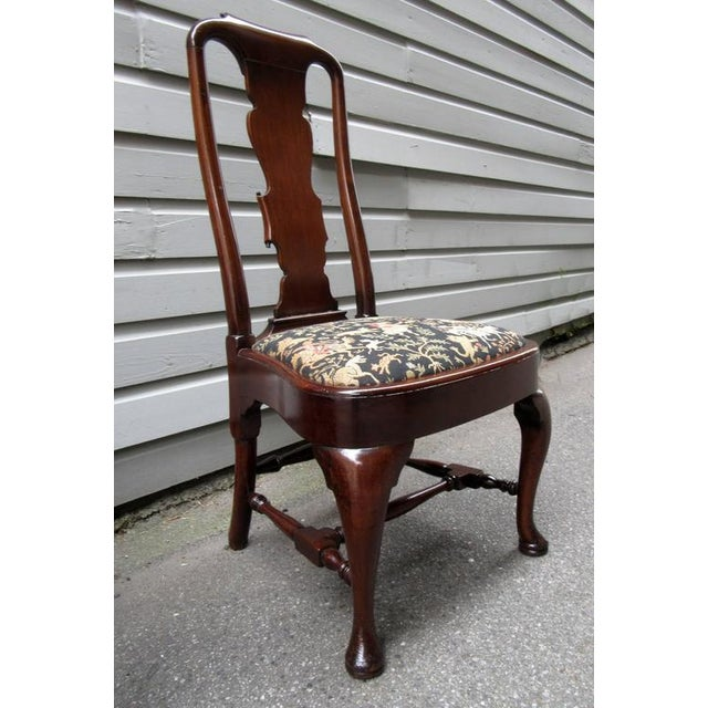 Set of Four 19th Century English Queen Anne Mahogany Splat Back Dining Chairs - Image 9 of 10