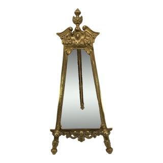 Vintage Gold Brass Table Top Display Easel For Sale