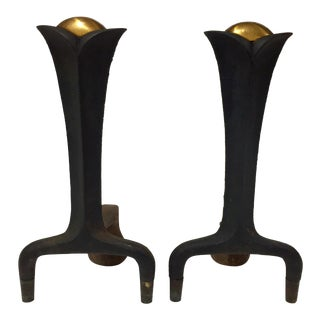 1950s Industrial Design Donald Deskey Andirons - a Pair