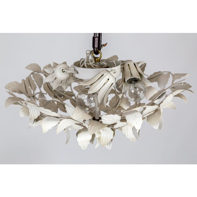 Contemporary White Tole Leaf Cluster Low Relief Wall or Ceiling Lights - 3 Available For Sale - Image 3 of 9