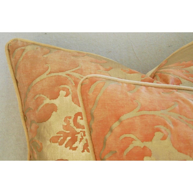 Italian Fortuny Glicine Gold Pillows - A Pair - Image 8 of 11