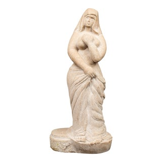 Todak Mid-Century Carved Stone Sculpture of a Woman For Sale