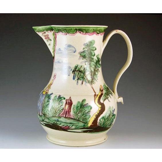 Antique English Saltglaze Cider Jug with Figural Polychrome Decoration, Mid-18th Century. For Sale In Philadelphia - Image 6 of 11