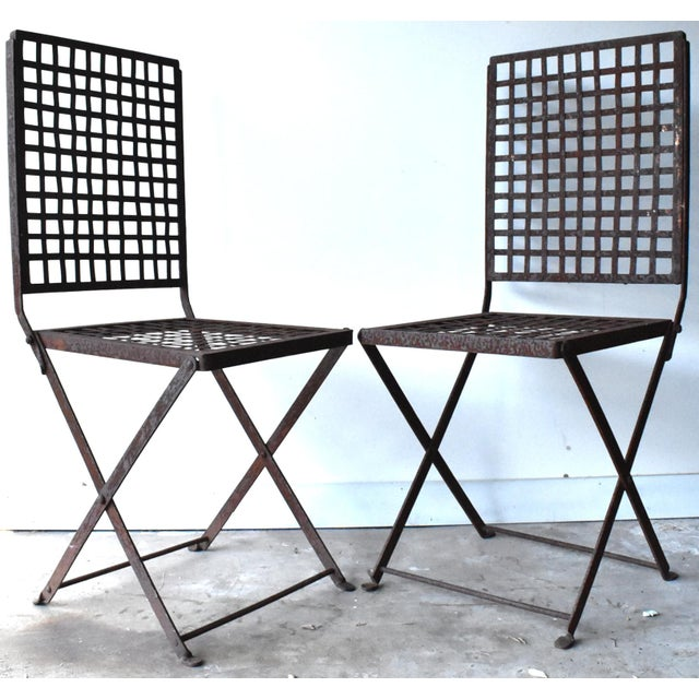 Vintage 1940s Wrought Iron Folding Garden Chairs - a Pair For Sale - Image 11 of 11