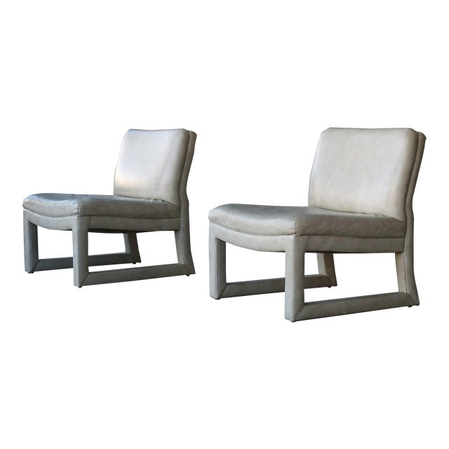 Michael Taylor for Baker Leather Lounge Chairs - A Pair - Image 1 of 6