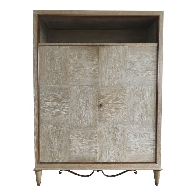 1940s Mid Century French Cerused Cabinet For Sale